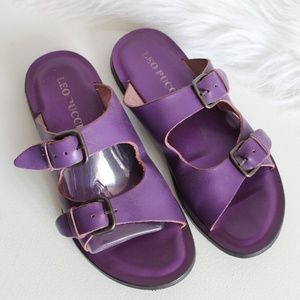 Leo Pucci Violet Double Buckle Leather Slides 37